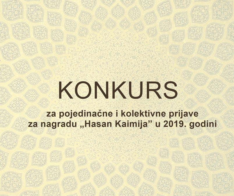 Konkurs za pojedinačne i kolektivne prijave za nagradu Hasan Kaimija u 2019. godini