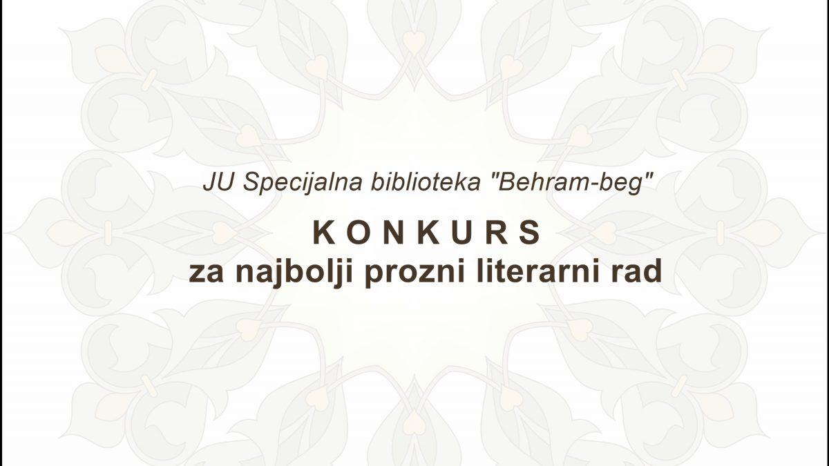 """Literarni konkurs Biblioteke """"Behram-beg"""""""
